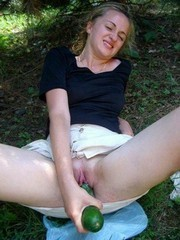 Amateur wives stuffing their twats with..