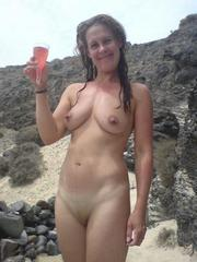French wife on vacation nude at the beach